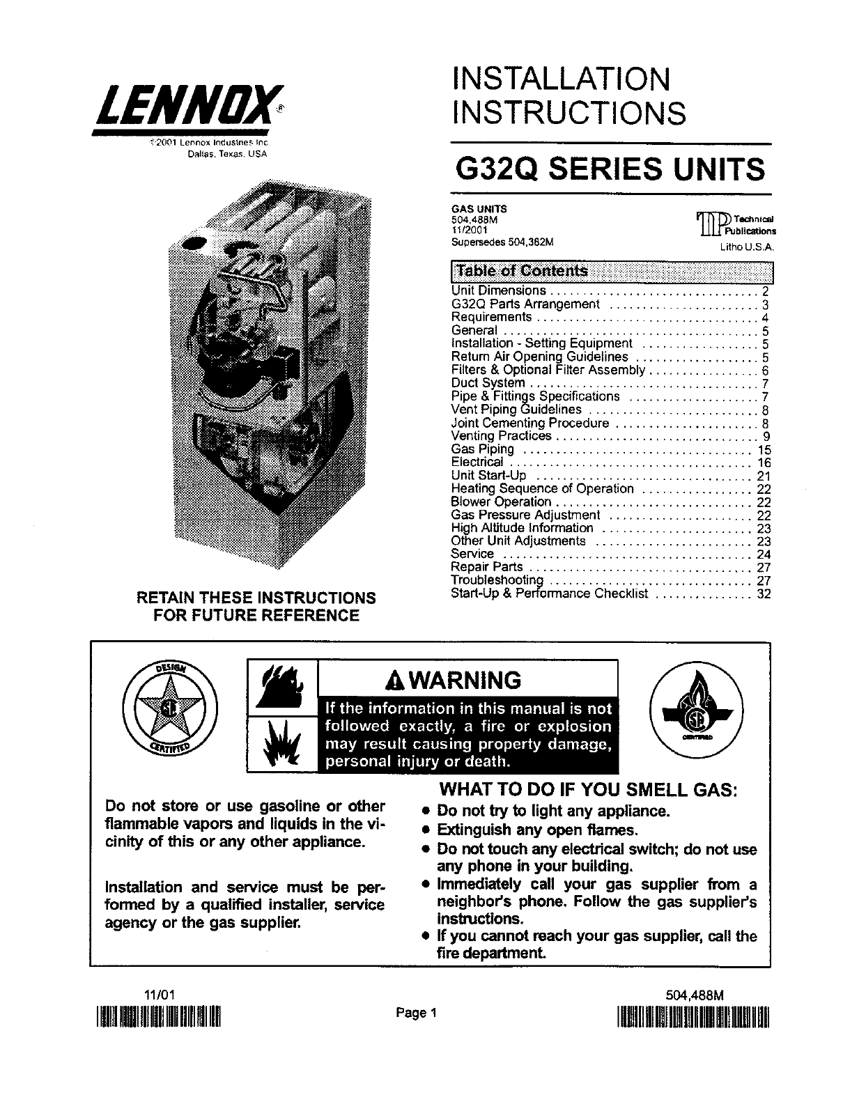 Lennox Gas Furnace Owner Manual - User Guide Manual That Easy-to-read •